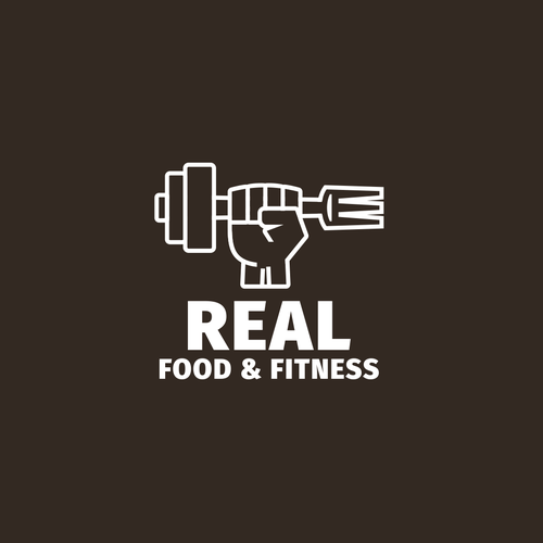 Dumbbell design with the title 'Strong logo concept for food&fitness coaching'