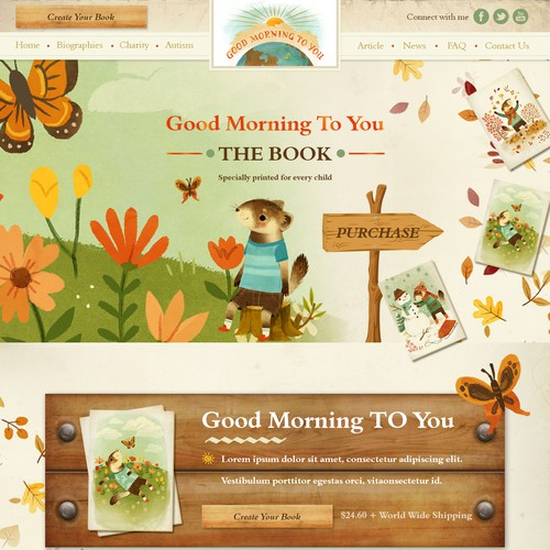 Children's website with the title 'Goord Morning to you'