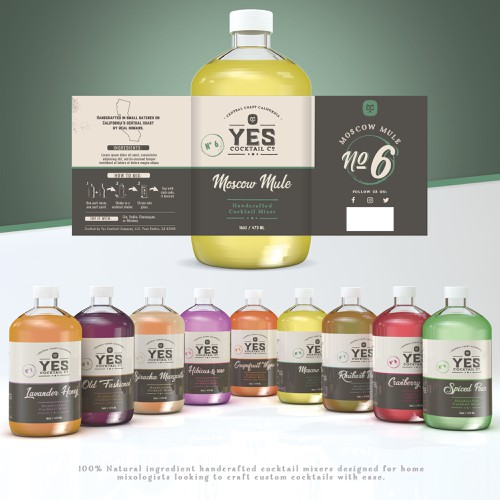 Spirit packaging with the title 'Yes cocktail co.'
