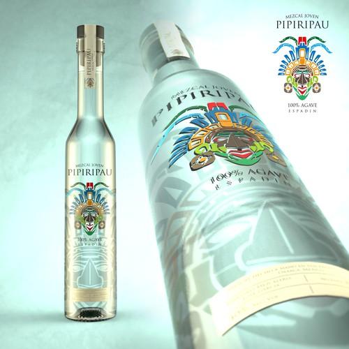 Liquor label with the title 'Mezcal label design'