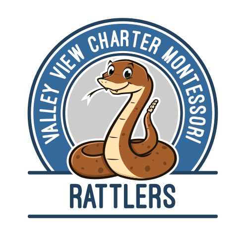 Snake logo with the title 'Rattler mascot for Valley View Montessori'
