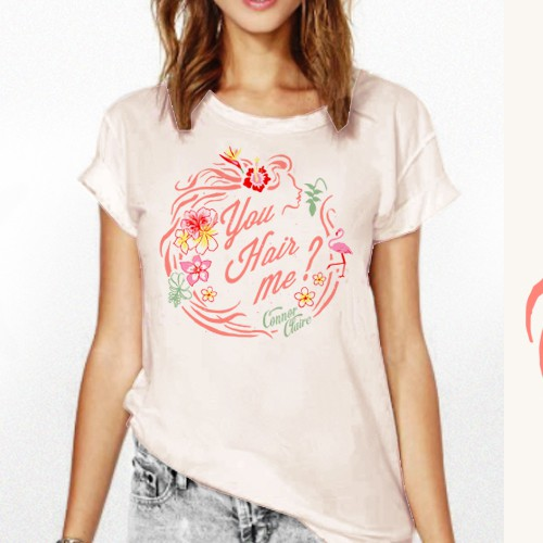 Fashion t-shirt with the title 'HAIR concept T-shirt design w/ Tropical retro vibe'