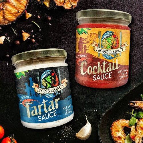 Sauce design with the title 'Label design for American seafood sauces'