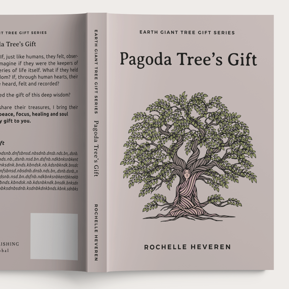 Philosophy book cover with the title 'Pagoda Tree's Gift illustration, Book Cover and Essential Oil Bottle Sticker'