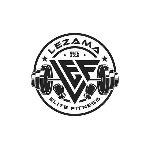 Barbell logo with the title 'Logo Proposal for Lezama Elite Fitness'