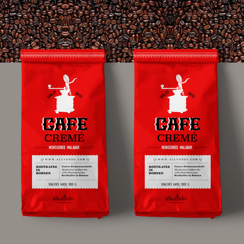 Typographic label with the title 'Cafe Cremé'