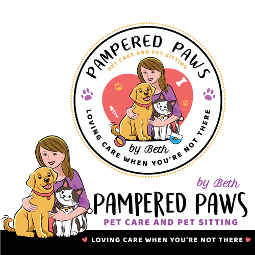 Pet care logo with the title 'Pampered Paws'
