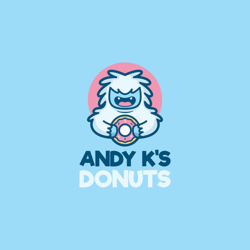 Sasquatch logo with the title 'Funny yeti for donut company'