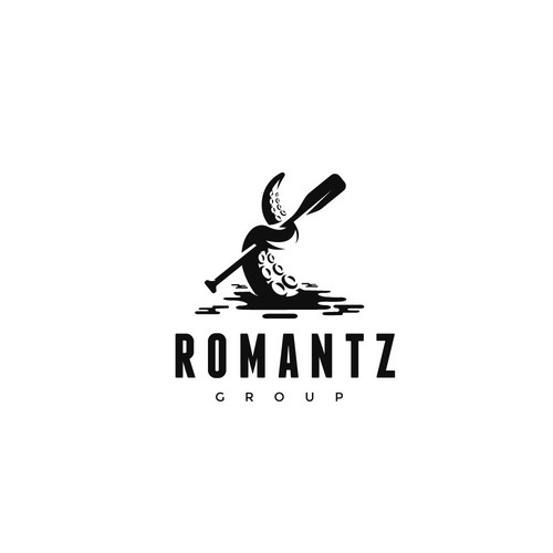 Octopus logo with the title 'Romantz Group logo design'