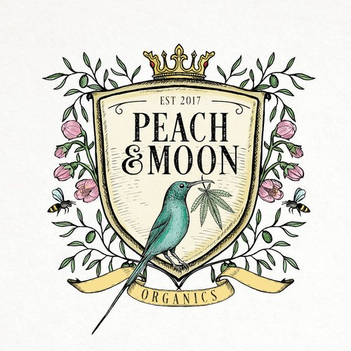 Vintage logo with the title 'Peach moon'