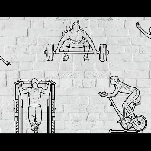 Gym artwork with the title 'Wall Art Design for a gym'