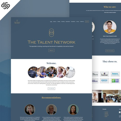 English design with the title 'The Talent Network - Squarespace Web Design'