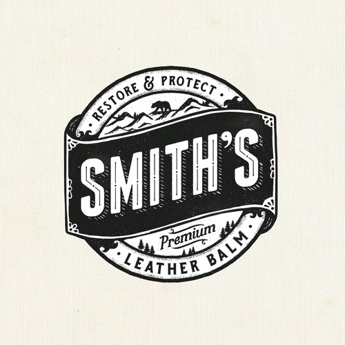Rustic logo with the title 'Smith's premium leather balm'