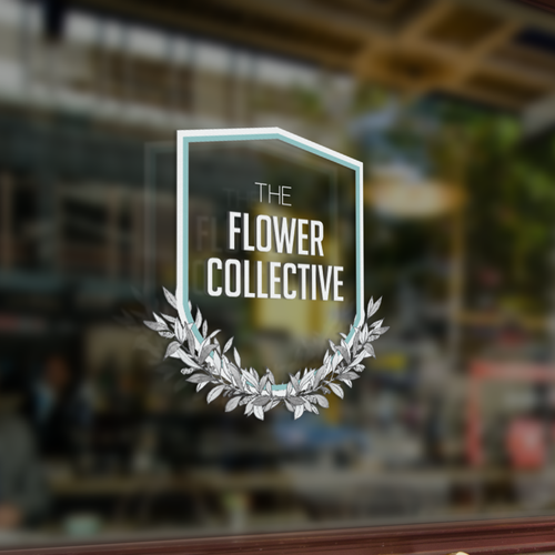 Wreath logo with the title 'Simple elegant design for The Flower Collective'