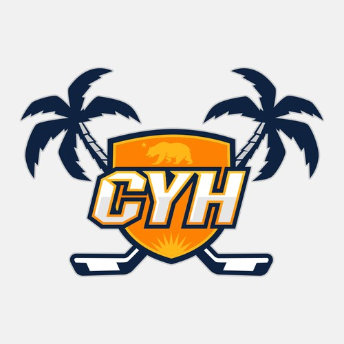 Palm tree design with the title 'California Youth Hockey'