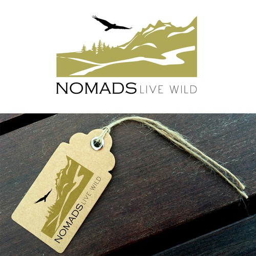 Nomad logo with the title 'Logo design for the clothing collection Nomads Live Wild'