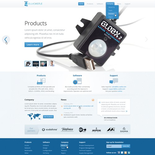 Telecom design with the title 'website design for Blu-Castle'