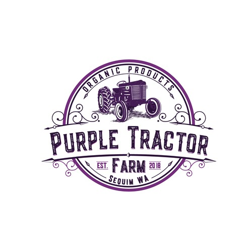 Tractor design with the title 'Logo for a small farm producing organic food'