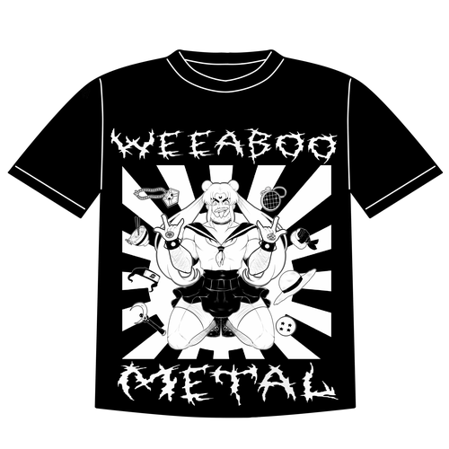 Anime t-shirt with the title 'Weeaboo Metal T-shirt Design'