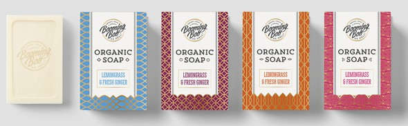 Soap packaging with the title 'Create the most innovative packaging and logo for organic soaps'