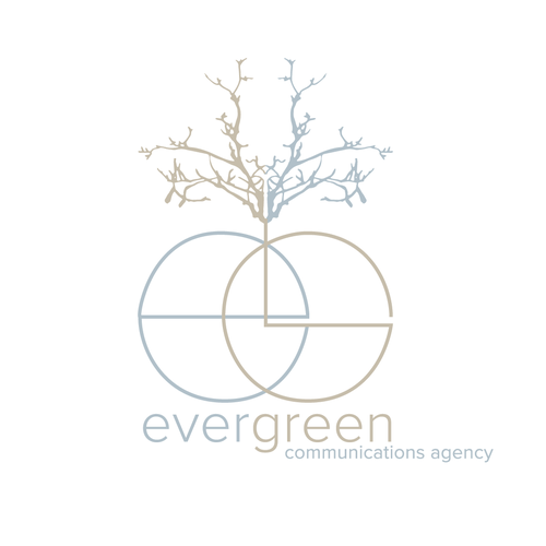 Distinctive logo with the title 'Unique logo concept tailored for evergreen communications agency'