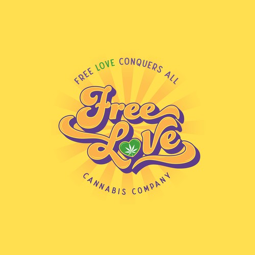 Yellow and purple design with the title 'Free Love'