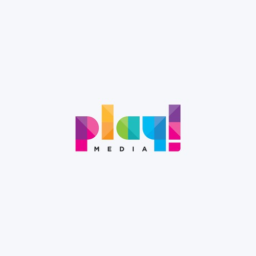 Typeface design with the title 'Play!Media'