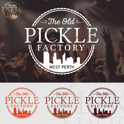 Pickle design with the title 'The Old Pickle Factory'