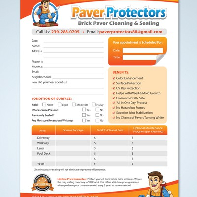 Create an Estimate Sheet for Paver Protectors