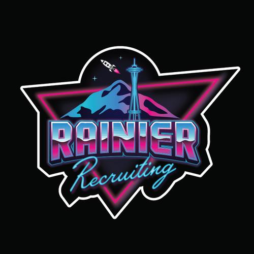 Rocket design with the title '80's neon sticker design'