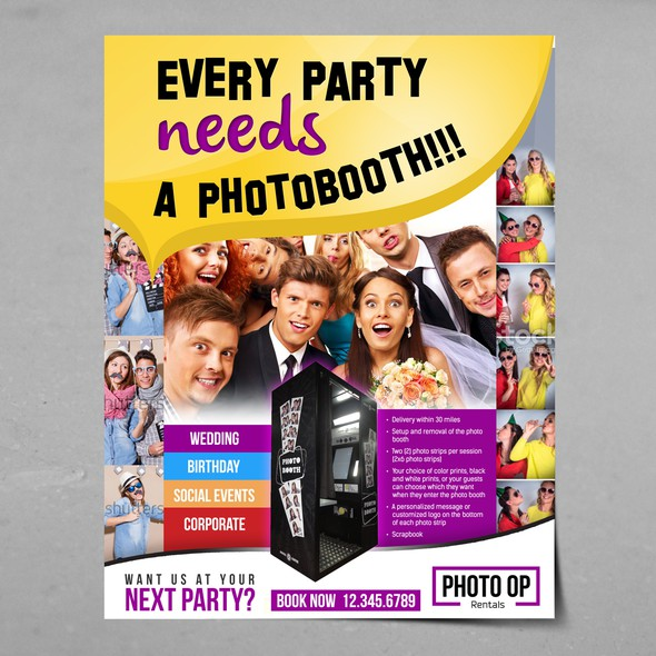 Photo booth design with the title 'Create eye catching print media for photo booth rental company'