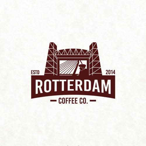Landmark design with the title 'Rotterdam Coffee Co.'