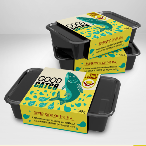 Fish packaging with the title 'Colorful Packaging for Pulled Fish'