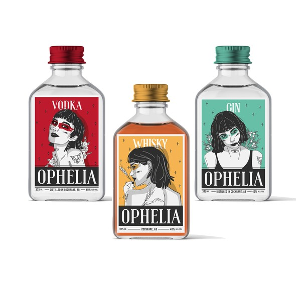 Alcohol packaging with the title 'labels for OPHELIA'