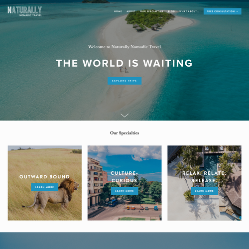 Copywriting design with the title 'Naturally Nomadic Travel'