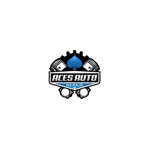 Spade logo with the title 'Aces Auto Repair Logo'