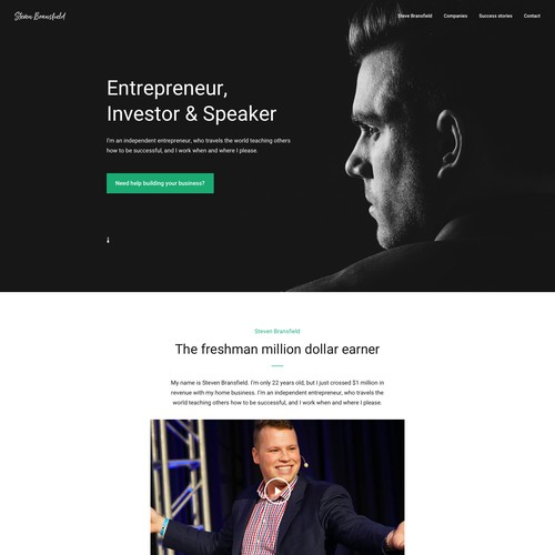 Branding website with the title 'Personal Website Design for Steven Bransfield'