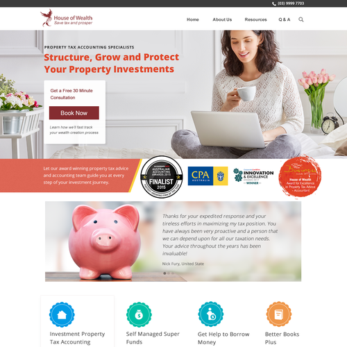 Investment website with the title 'award winning Aussie accounting firm'
