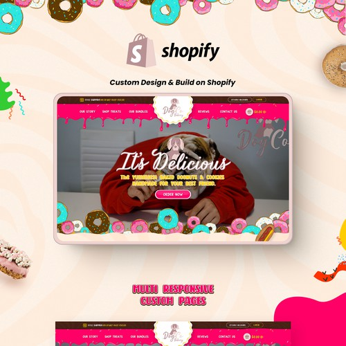 Bakeshop design with the title 'Shopify Website for Dog Bakery Products'
