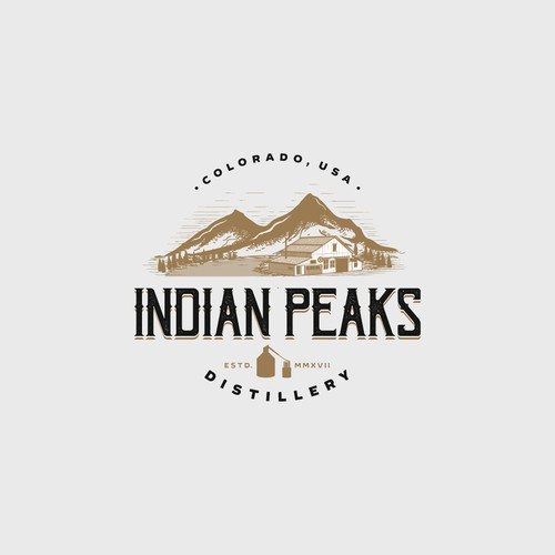 Brown and white logo with the title 'Logo Design for Indian Peaks Distillery'