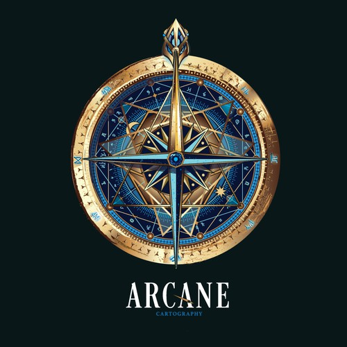 Blue logo with the title 'logo for Arcane cartography'