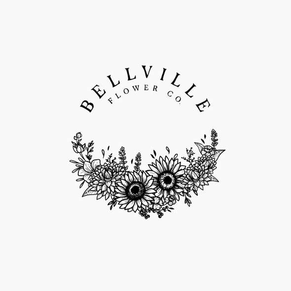 Floral design with the title 'Bellville Flower Co.'