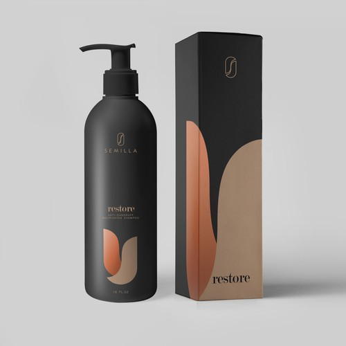 Shampoo design with the title 'Shampoo bottle and box design'