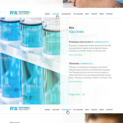Medical website with the title 'Website design for a World-Changing Vaccine Pharma Company'