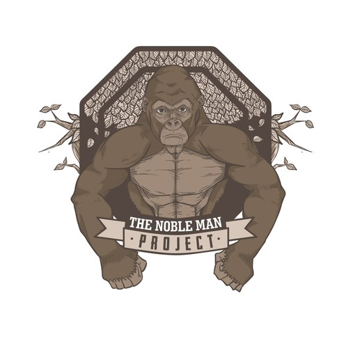Fitness artwork with the title 'Illustrated logo for sport and fitness program The Noble Man Project'