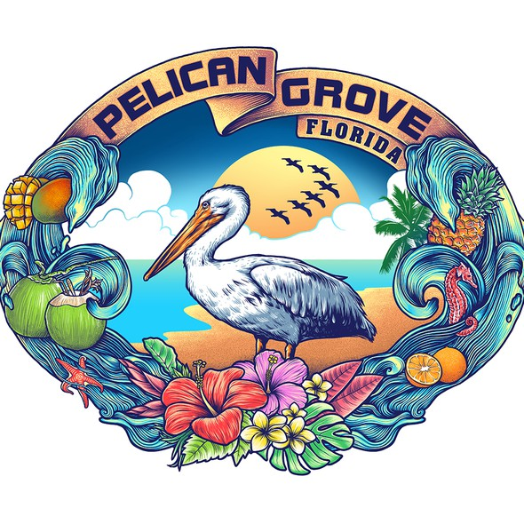 Pelican design with the title 'pelican grove'