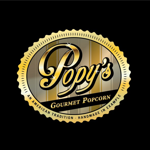 Black and gold logo with the title 'Popy's Gourmet Popcorn needs a new logo'