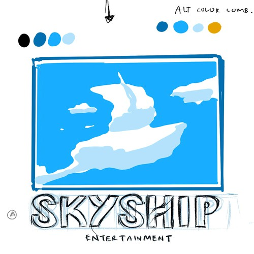 Ship logo with the title 'Concept Design for Skyship logos'