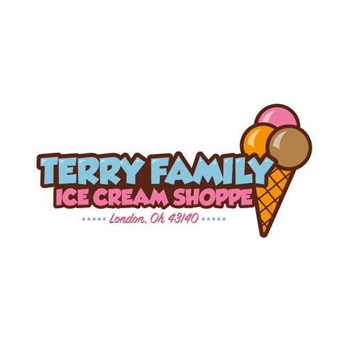 Family business logo with the title 'Ice Cream Shoppe Logo'