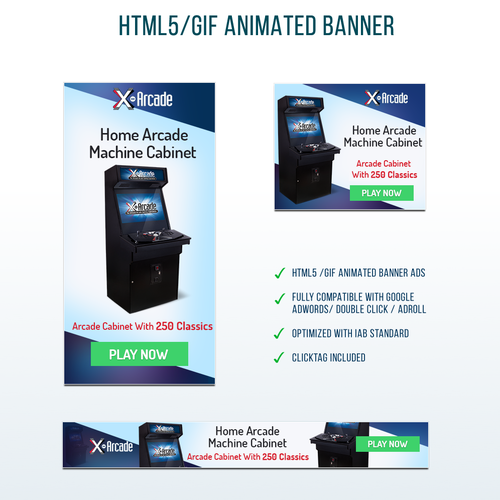 HTML5 design with the title 'Banner Designs For Retro Arcade Video Game'